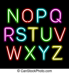 alfabet, neon, glöd