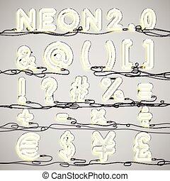 alfabet, neon, ilustracja, realistyczny, wektor, druty