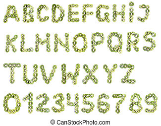 alfabet, od, kiwi