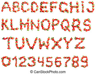 alfabet, od, truskawki