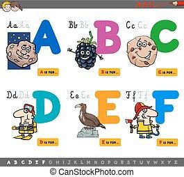 alfabet, onderwijs, brieven, spotprent
