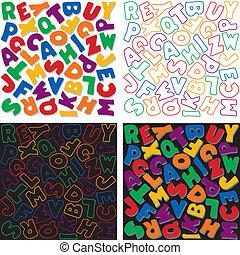 alfabet, ontwerp, achtergrond, motieven