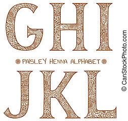 alfabet, paisley, henna, g