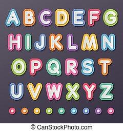 alfabet, papier, brieven, hoofdstad