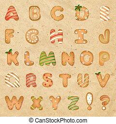 alfabet, papier, koekje, retro, peperkoek, kerstmis