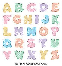 alfabet, pastels, met, polka punten