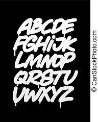 alfabet, pisemny, chrzcielnica, graffiti, ręka