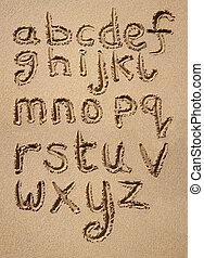 alfabet, pisemny, sand.