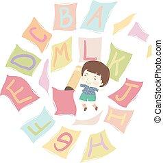 alfabet, potlood, vliegen, papieren, geitje, jongen, illustratie