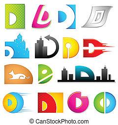 alfabet, różny, d, ikona
