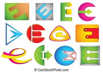 alfabet, różny, e, ikona