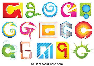 alfabet, różny, g, ikona