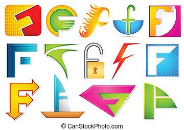 alfabet, różny, ikona, f
