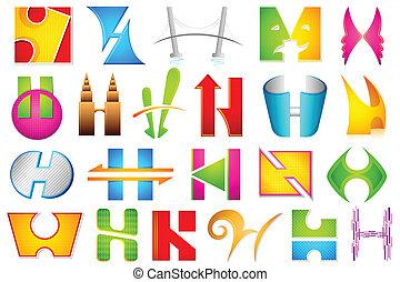 alfabet, różny, ikona, h