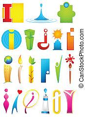 alfabet, różny, ikona