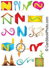 alfabet, różny, ikona, n