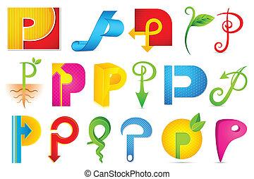 alfabet, różny, ikona, p