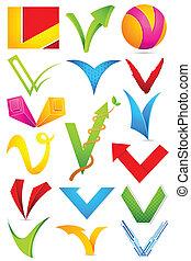 alfabet, różny, ikona, v