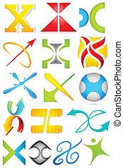 alfabet, różny, ikona, x
