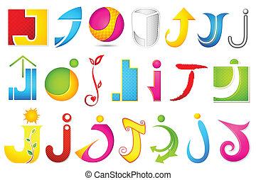 alfabet, różny, j, ikona