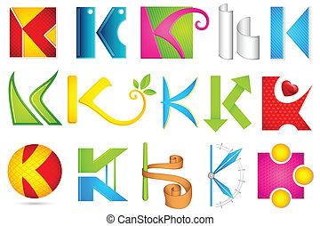 alfabet, różny, k, ikona