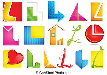 alfabet, różny, l, ikona