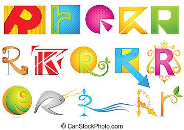 alfabet, różny, r, ikona
