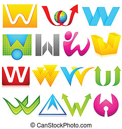 alfabet, różny, w, ikona