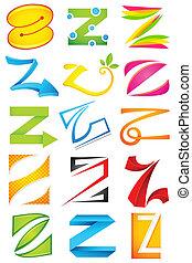 alfabet, różny, z, ikona