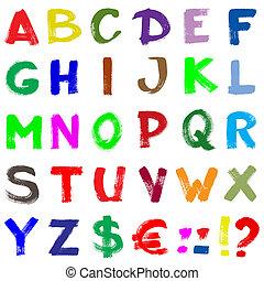 alfabet, ręka-napisa, barwny