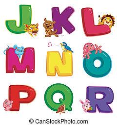 alfabet, r, dier, j