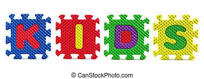 alfabet, raadsel, witte achtergrond, stukken