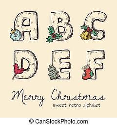 alfabet, retro, jul