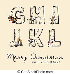 alfabet, retro, kerstmis