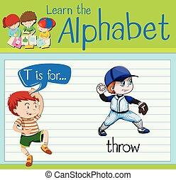 alfabet, rzucić, t, flashcard