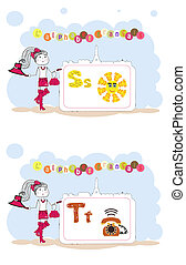 alfabet, s, alfabet, francais., francuski, wektor