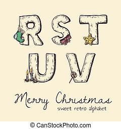 alfabet, s, -, u, t, retro, v, r, kerstmis