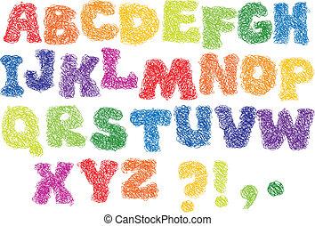 alfabet, schets, -, anders, kleuren