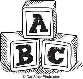 alfabet, schets, blokjes