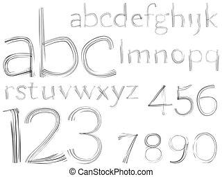 alfabet, schets, getrokken, getallen, hand