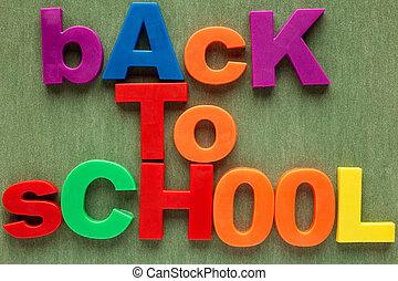 alfabet, school, brieven, back