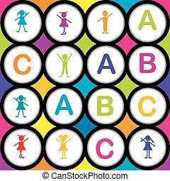 alfabet, seamless, bakgrund