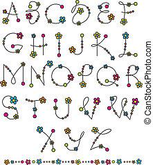 alfabet, set, bloem, latijn