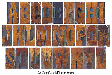 alfabet, set, in, franse , clarendon, hout, type