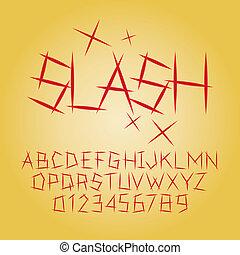 alfabet, siffra, vektor, abstrakt, snedstreck
