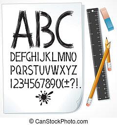alfabet, skitse, avis, stram, hånd