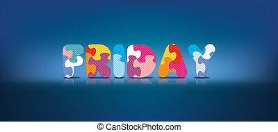 alfabet, skriftligt, fredag, problem