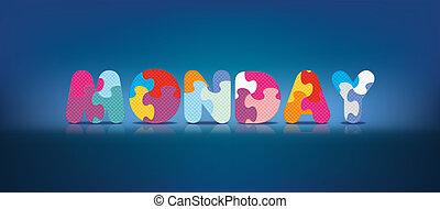 alfabet, skriftligt, problem, måndag