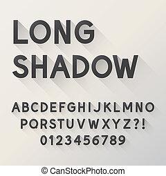 alfabet, skugga, dristig, länge