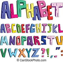 alfabet, spotprent, 3d